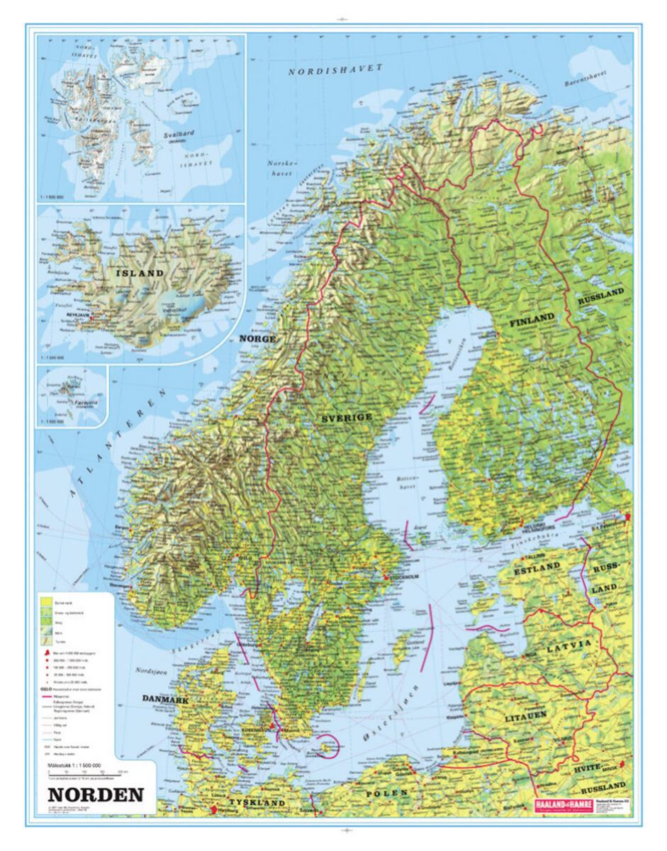 kart i norden Norden kart m/selvløftende stokk   Lekolar Sverige kart i norden