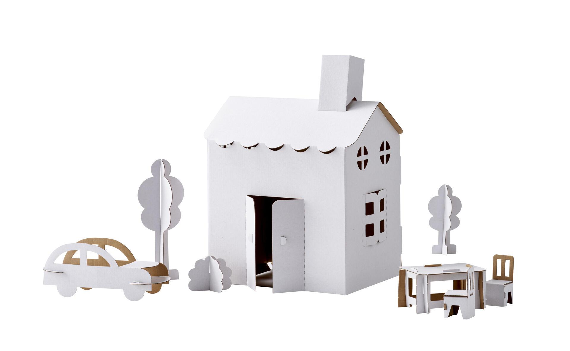Hus med möbler i kartong Lekolar Sverige